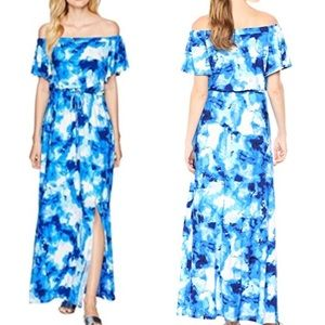 NWT Nine West Blue White Off Shoulder Maxi Dress